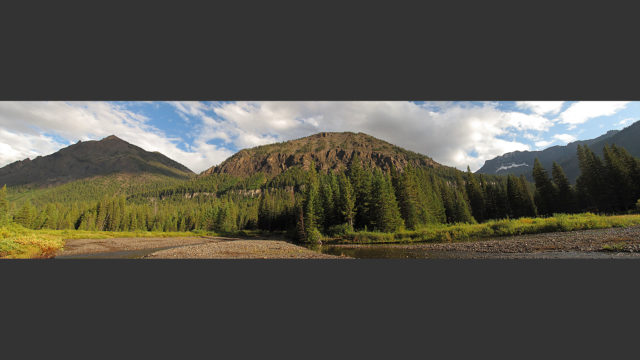 A panoramic view looking back at the property from Soda Butte Creek.