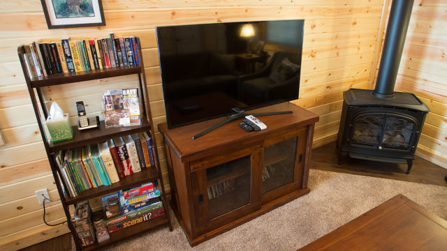 Enjoy satellite television or our selection of DVDs, books and games.