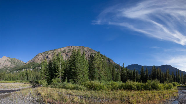 A view of the property from Soda Butte Creek.